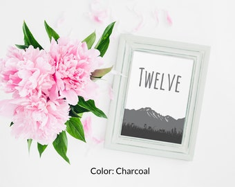 Mountain Table Numbers, Colorado Table Numbers, Wedding Table Numbers, Mountain Wedding, Woodland Table Numbers, Woodland Wedding