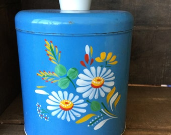 """Ransburg vintage canister, turquoise with white daisies, 8,25"""" tall, 7"""" across"""