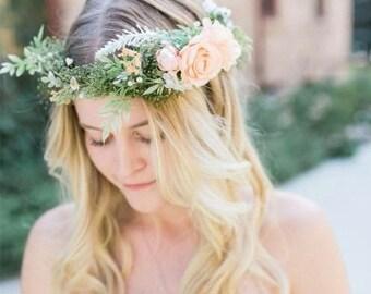 Peach Flower Crown - Peach Rose Bridal Flower Crown - Photo Prop- Bridal Halo - Flower Girl Hair Wreath - Boho Bride Flower Crown