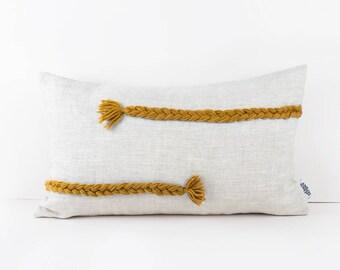 Eco friendly pillows - Mustard Yellow decor - Mustard nursery accessories - Weaving pillow - Throw pillows - Linen pillow cover