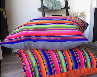 Guatemalan Dog Bed Cover, Serape PIllow cover, Floor Cushion, XL pillow, mayan rainbow cushion cover, mexican dog bed