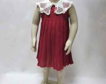 Knit Pure Linen(Flax) Dress for Toddler Girl  - 18-24M