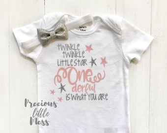 Onederful is what you are, 1st Birthday Outfit, Pink and Silver 1st Birthday Outfit