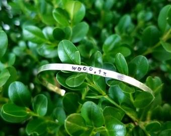 Handstamped aluminum cuff bracelet, Personalized bracelet, Family jewelry