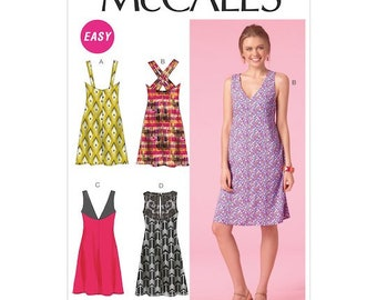 McCall's M7118 Size 4-12 or 12-20  Misses' Back-Detail Dresses Sewing Pattern / Uncut/FF