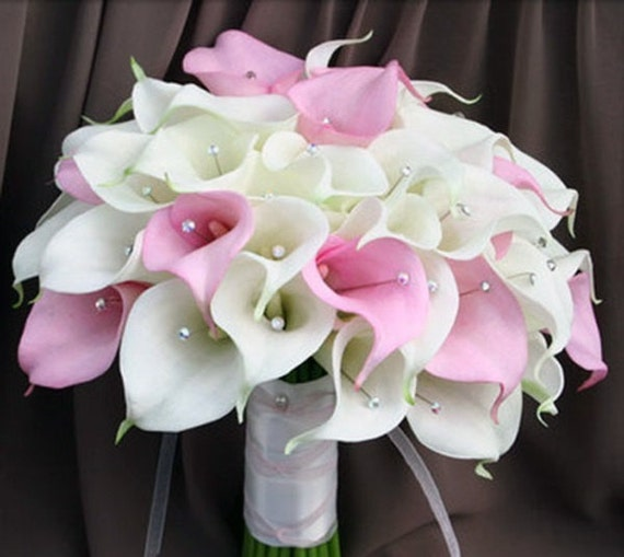 Pale Pink Wedding Flower Bouquets: White Pale Pink Calla Lily Bouquet Wedding Flowers Wedding