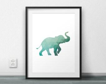 Elephant Print, Triangle Pattern, Geometric Art, Wall Poster, Wall Decor, Office Decor, Scandinavian Poster, Large size, Minimal, Modern