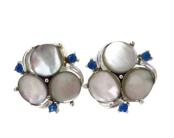 Vintage Moonstone Earrings, Rhinestone Earrings, Gray, Blue Clip on Earrings, Costume Jewelry, Gift Idea for Her
