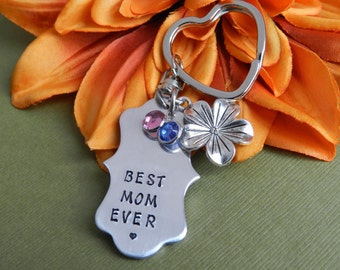 Best Mom ever key chain, Mother keychain with birthstone, Custom mom key ring, Handstamped keychain, Personalized Unique gifts mother's day