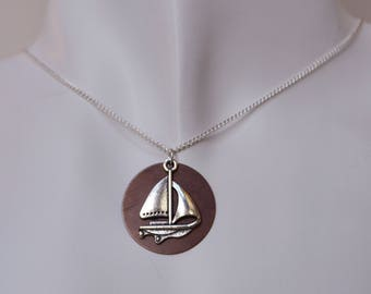 Silver Sailboat Pendant Necklace