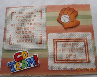 Father's Day card,sports Dad, Anyone can be father...special 2 Be a Daddy,cross stitch card,hand made card