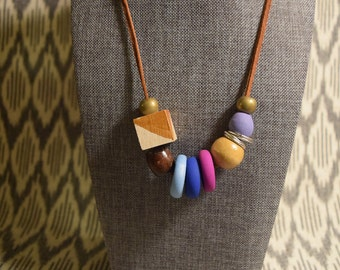 Mixed Media Purple and Gold Handmade Clay Bead Necklace on Leather