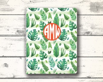 Tropical Notebook, School Supplies, Monogram Notebook, Custom Notebook, Personalized Stationery, Personalized Notebook,  Custom Stationery