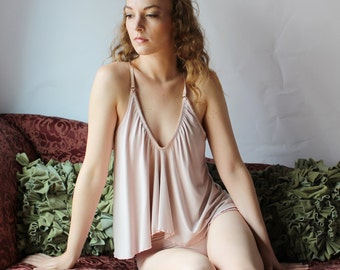 bamboo sleepwear lingerie set including camisole and sleep panties - CATHEDRAL lingerie range - made to order