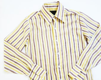 60s shirt - striped shirt - vintage button down - 60s button up - yellow stripe shirt - 1960s clothing - Vintage Sears Button Up XS S