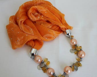 SALE - Orange Tulle Necklace Scarf,Jewelry Scarf,Bohemian,Chain Pendant,Night,Gift Ideas For Her,Women Fashion Accessories,Valentine's  Gift