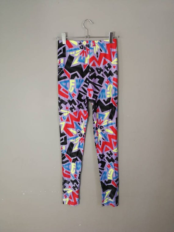 90s leggings / vintage 90s cycling leggings / vintage yoga pants / 90s retro abstract purple lycra leggings / 90s gym leggings / MEDIUM