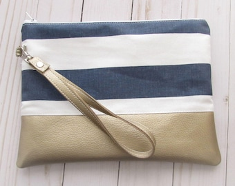 Navy Stripe Wristlet - with Vegan Leather - Cosmetic Bag - Personalized Mother's Day Gift - with Monogram - Clutch Wristlet