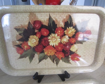 Metal Tin TV Tray Snack Lap Serving Tray Floral Mid Century Set of Two