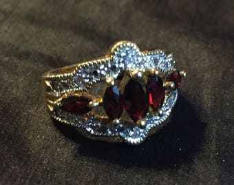 Garnet & Crystal Ring, Garnet Ring, Crystal Ring, Vintage Ring, synthetic garnets, 18k gold plated