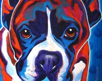 Boxer, Pet Portrait, DawgArt, Dog Art, Pet Portrait Artist, Colorful Pet Portrait, Boxer Art, Pet Portrait Painting, Art Prints