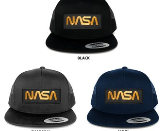 FLEXFIT 5 Panel NASA Worm Gold Text Embroidered Patch Snapback Mesh Trucker Cap (6006-PM302)