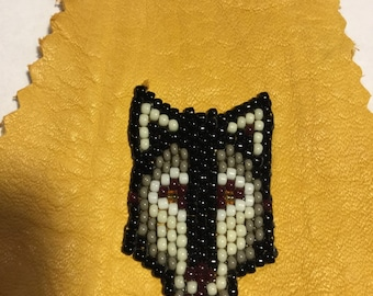 Wolf Beaded Leather Keychain