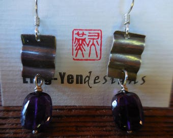 Folded Sterling Silver earrings, Amethyst drop with onxidaton