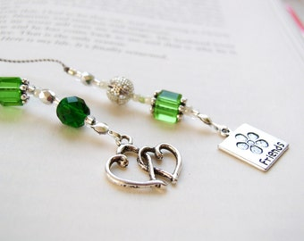 Friendship Beaded Book Thong Bookmark - Jeweled Bookmark Emerald Green Glass with Silver Pewter Friendship Charm EntwinedDouble Hearts Charm
