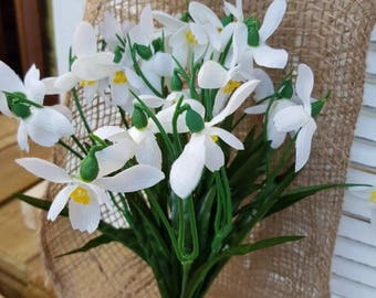 Snow drops artificial dainty spring flowers of the forest mothers day gift