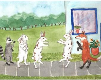 Reserved - Original Watercolor Rabbit Painting - The Visit