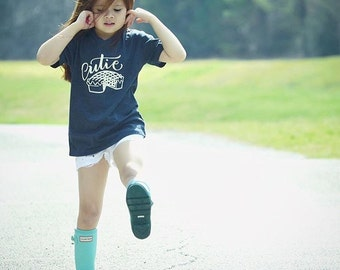 Cutie Pie Tee - Heather Navy V-neck Tee Shirt - Size 4 4t- T-shirt - Original Graphic Shirt Designs by Dear Seed - DearSeed -