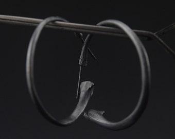 What Remains - Bone Hoop Earrings in oxidized sterling silver