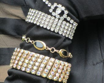 Vintage 1950s Expandable Rhinestone Cuff Bracelet - choice of 2 different widths