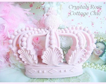 Shabby Pink Wall/Bed Crown Vintage Ornate Shell & Pineapple Design Girls Room Pink Princess Decor/ Nursery, Photo Prop, Shabby Chic Decor