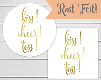 Kiss Cheer Toss Wedding Confetti Stickers with Gold Foil on White Stickers, Wedding Bird Seed Stickers, Wedding Labels (#106-F)