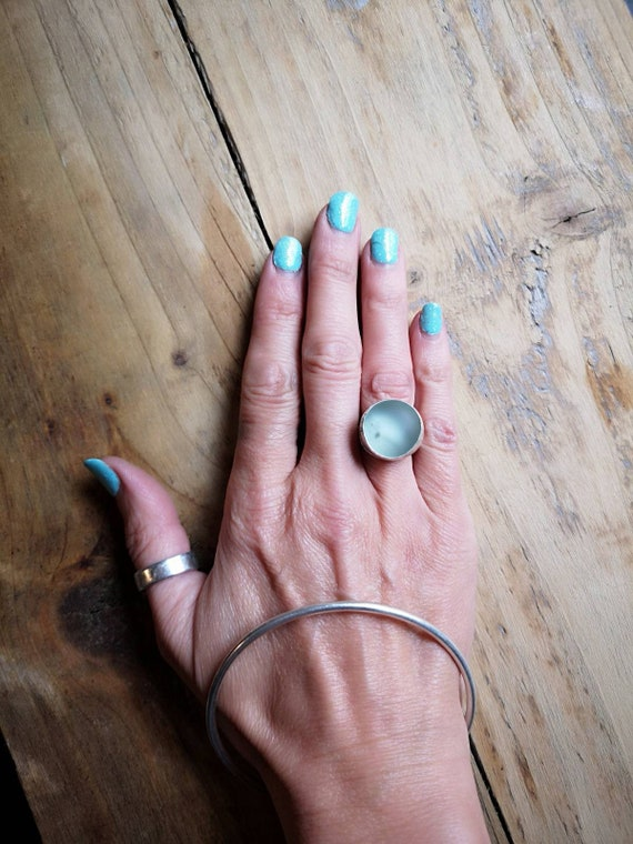 Sterling silver Seaham seaglass ring, size M/N UK