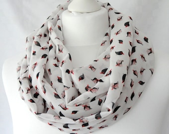 Little black bird print infinity scarf, Bird print scarf, Gift for bird lover, Circle scarf, Scarf with bird print, Lightweight scarf