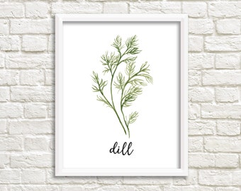 Watercolor Dill Herb Printable Wall Art Botanical Herb Print Herb Printable Dill Wall Art Dill Printable Kitchen Decor Kitchen Wall Art