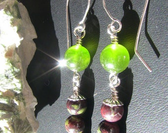 Dragon's Blood Jasper & Olive Green Jade Dangle Earrings