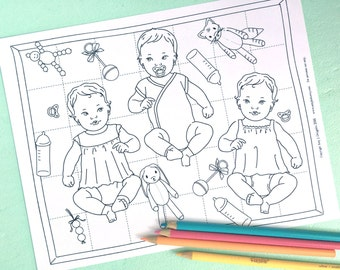 Printable BABIES! Coloring Page- Digital File- Instant Download-baby dolls, little mommy