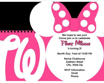 DIGITAL - Minnie Mouse 2nd Birthday Invitation