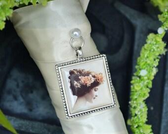 Bouquet Photo Charm Frame Square Antique Silver/Brass Wedding Memory Keepsake