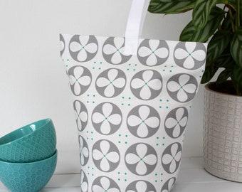 Roundel fabric grey and white geometric door stop doorstop