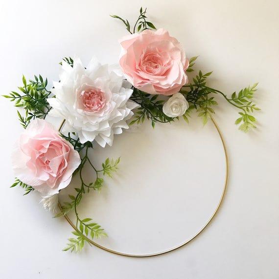 Paper Flower Wreath Gold Hoop Wreath Crepe Paper Flower