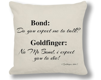 Goldfinger 1964 Film Quote Cushion Cover (FQ030 - Natural)