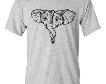CLEARANCE, Hugging Elephants Tshirt, Elephants In Love T Shirt, Safari Animal, Elephant Tee,   sm-5xl plus size