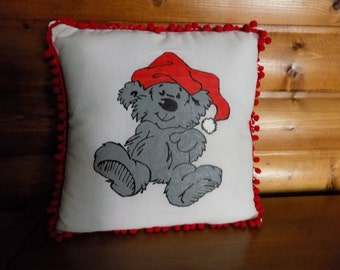 Cute Bear with night cap Hand painted pillow case with pillow-FREE SHIPPING