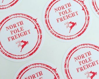 North Pole Freight Delivery Christmas Stickers 37mm