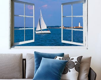 PRINT FILE-open window view- Boston Harbor- easy, do it yourself wall art